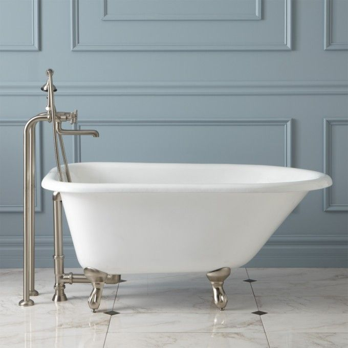External tub faucet hardware for cast iron tub in kids bath.