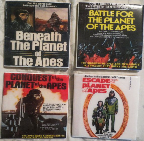 Planet of the apes coasters.  Hey, I found this really awesome Etsy listing at https://www.etsy.com/listing/197585870/planet-of-the-apes-4-pc-coaster-set