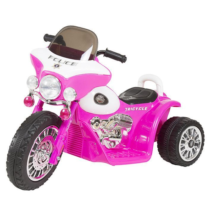 Ride on Toy, 3 Wheel Mini Motorcycle Trike for Kids, Battery Powered Toy by Lil Rider Toys for Boys and Girls, 2 - 5 Year Old - Police Car Pink