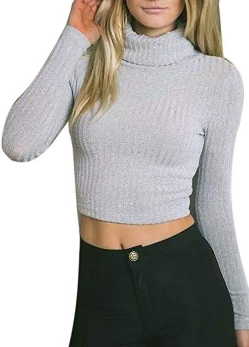 f0aab932534 Joeoy Women's Turtle Neck Knitted Cropped Sweater Jumper Light Grey-M at Amazon  Women's Clothing store: