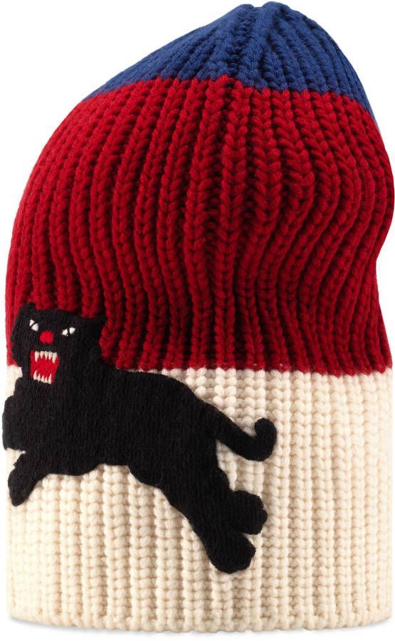 Web wool hat with panther