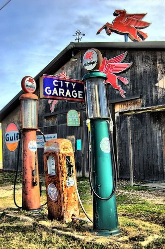 These old gas pumps look like ones that were in the Peugh Ford garage in…