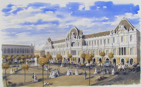 Acuarela. Plaza de Armas. Santiago. Chile. Aprox. 1870.