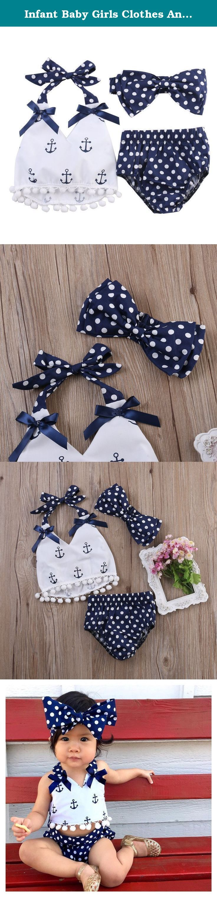Infant Baby Girls Clothes Anchor Tops+Polka Dot Briefs Outfits Set Sunsuit 0-24M (0-6 Months, Blue). New in Fashion. Material: Cotton Blend. Style:Lace Flower Perfect dress for a vintage photo shoot!. Style: Foraml, Party,Casual. Package included: 1x Tops+Briefs+Head Band.