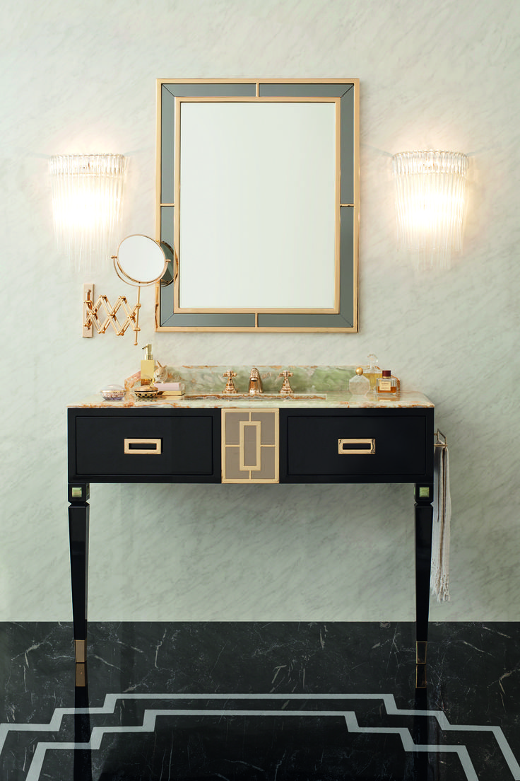 Walton as a haute couture garment dresses your bathroom with rich finishes in gold, precious onyx, smoky mirrors and lacquering.