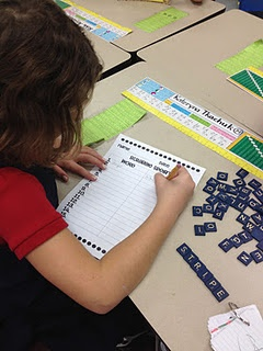 Scrabble Spelling...click the link to get the worksheet that goes with this center.