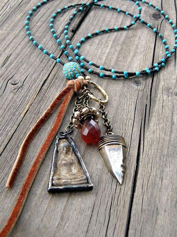Turquoise, Buddha, Soft Greek Leather, Wire Wrapped Carnelian Teardrop, Long Amulet necklace, metal, Boho on Etsy, $80.00