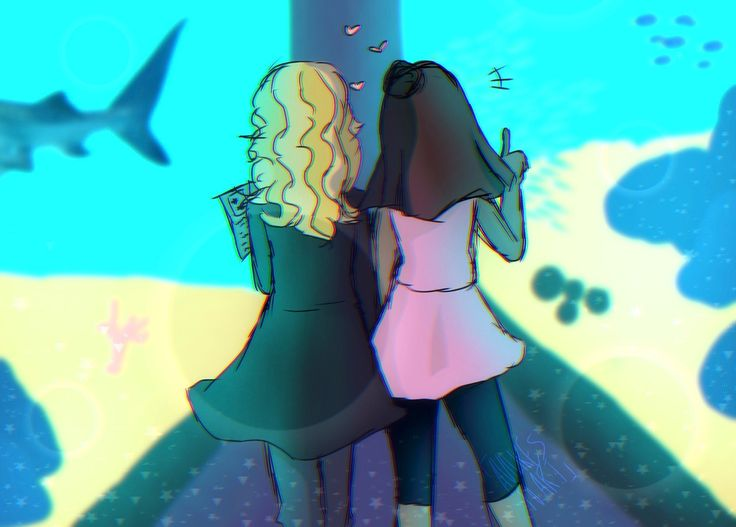 Day 2: First/Casual Date I GOT LAZY DRAWING FISH SO I KINDA JUST DID BLOBS Also aquarium dates hell yeah @dianakko-week
