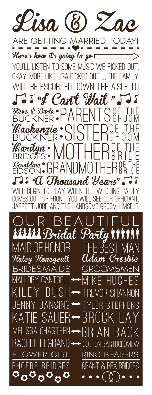 Fun Multi-Font Wedding Program @Kaity Bell love these! but maybe dark purple instead of black?