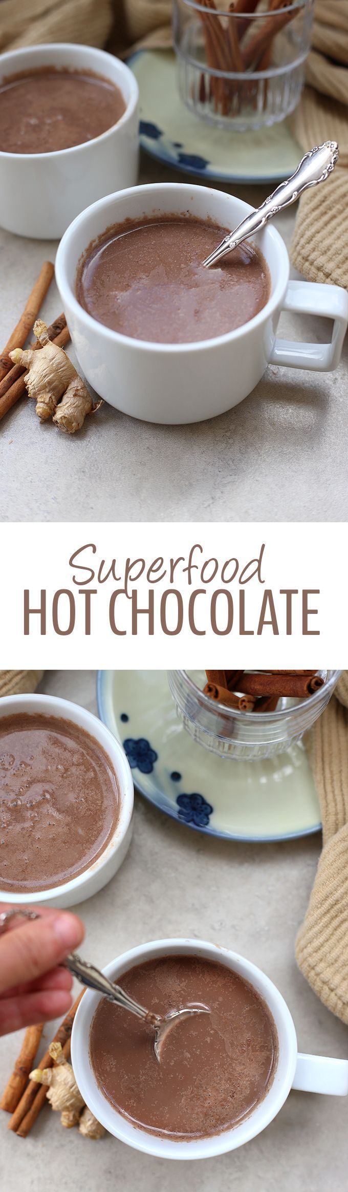 This Superfood Hot Chocolate is packed-full of immune-boosting, antioxidant-filled ingredients that make for one heck of cup of hot cocoa! From coconut, to turmeric and the sweetness of raw honey, this is a hot chocolate recipe you can feel good about dri