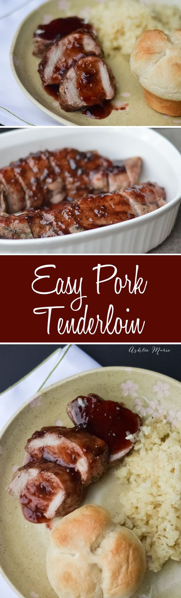 this pork tenderloin is super easy to make and very flavorful with rosemary and thyme.  Serve with a raspberry chipotle sauce and everyone is a fan
