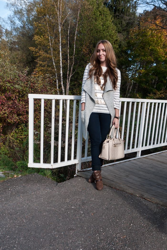 Closet Full Of Thrills: Long Knit Vest + Gold Stripes + Fall Booties