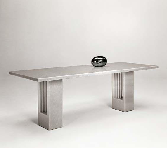 TABLE DELFI. Table En Marbre De Carara Blanc Et En Pierre De Vicenza. Marcel