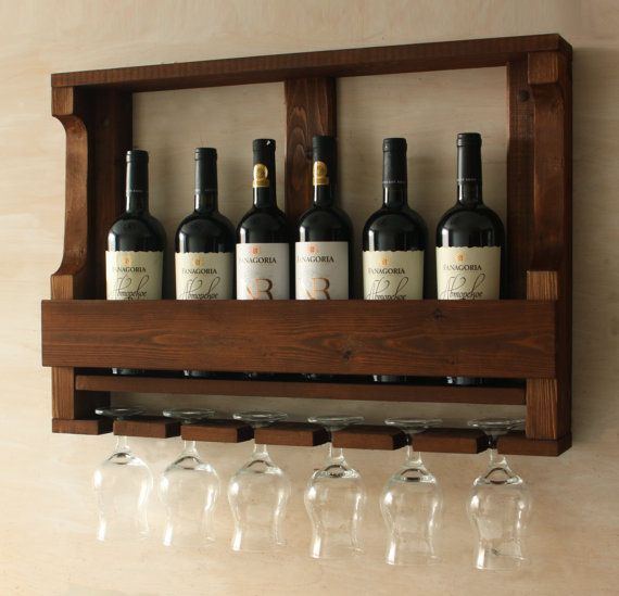Wooden wine rack Hanging wine glass rack Rustic by MartelMosaic
