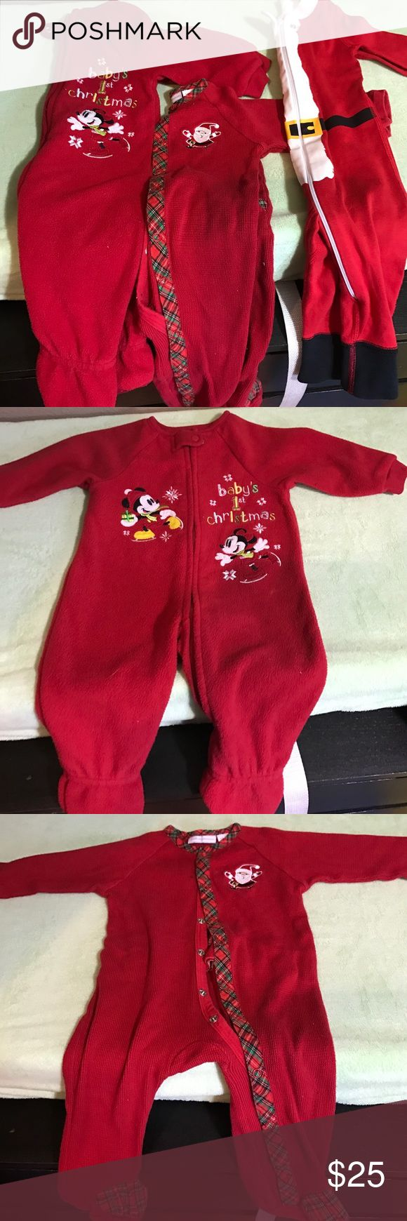 """3 Christmas Sleepers 🎄 1: Mickey and Minnie """"Baby's 1ST Christmas"""" Footie Pajamas. Disney a baby Brand. Size 3-6. It's big for a 3-6 month. It just recently stopped fitting my 9 Month old. 2: first impressions flannel santa footie pajama. Size 6-9 Month. 3:Hanna Andersson footless pajamas. """"Santa Baby"""" Size 6-9 months. All EUC and worn for a short time. Super cute. Girl or boy! Hanna Andersson One Pieces Footies"""