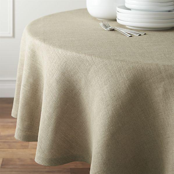 """Beckett Natural 90"""" Round Tablecloth"""
