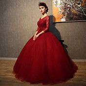 Formal+Evening+Dress+Ball+Gown+Scoop+Floor-length+Lace+/+Tulle+with+Beading+/+Crystal+Detailing+/+Lace+–+GBP+£+188.59