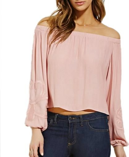 Forever 21 Contemporary Embroidered Top in Pink as seen on Lauren Bushnell