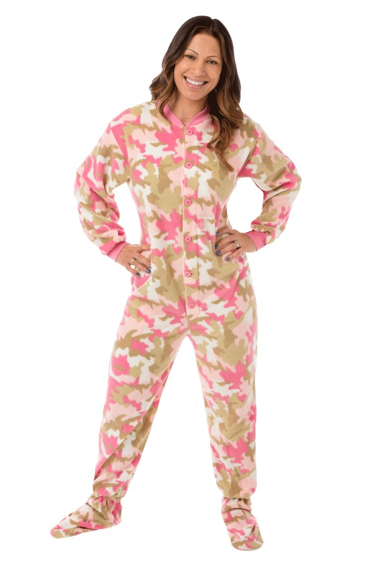 Pink Camo Footed Pajamas for Women