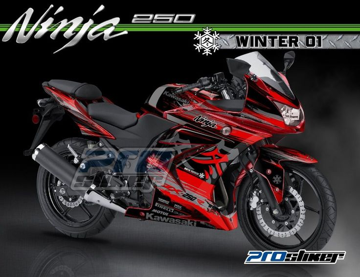 Modifikasi Ninja 250 Karbu Warna Merah Decal Modif WINTER 01 Merah Strip Abu Abu Full Body Prostiker