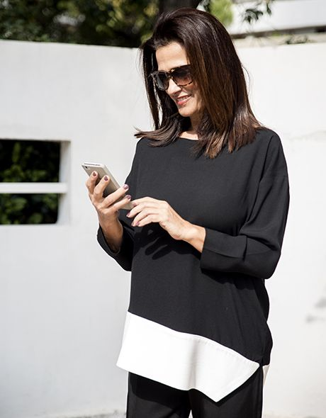 Blouse viscose black and white!!! www.cherryschoice.gr