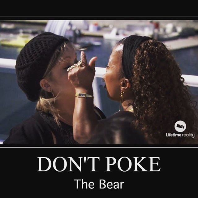 You know what they say: Don't Poke The Bear. Definition: Some actions that may appear harmless or helpful, may actually be counterproductive or provocative and result in being growled at. Bears are lovely creatures that often hibernate and are, for the most part, non-violent. However, when poked, bears can become quite angry. As such, it's always best not to poke the bear. We all have our good days and our bad. Tune into @lifetimetv tonight at 9/8c for an all new episode of @littlewomenofla…