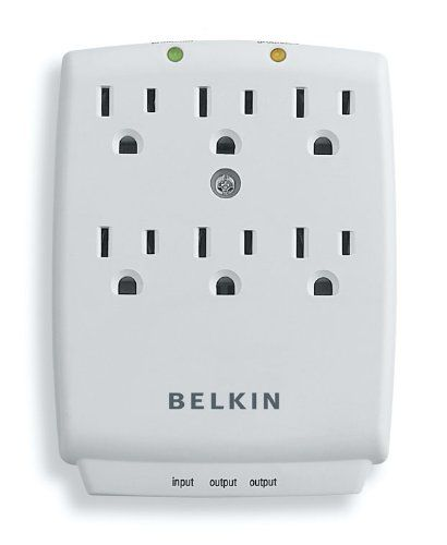 Belkin 6-Outlet SurgeMaster Wall-Mount Surge Protector, 1045 Joules (F9H620-CW)