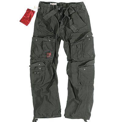 Surplus Mens Combat Trousers Army Cargo Work Wear Pants Casual US Vintage Black