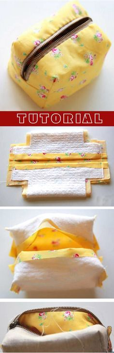 Box Bag Little Boxy Pouch. DIY Sewing Tutorial in pictures. http://www.handmadiya.com/2015/10/easy-zipper-box-bag-tutorial.html