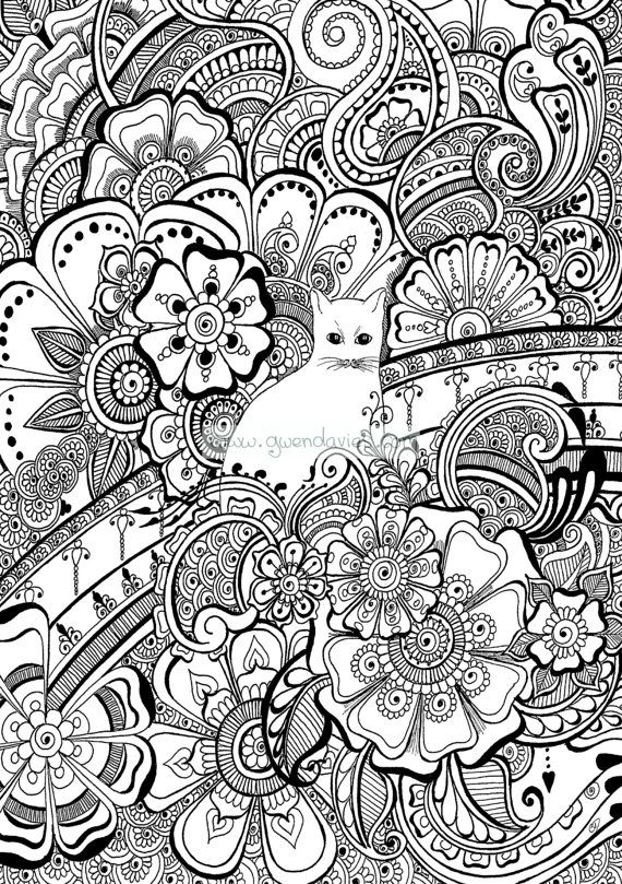 Colour the cat with henna flowers  colouring in by gwendaviesart