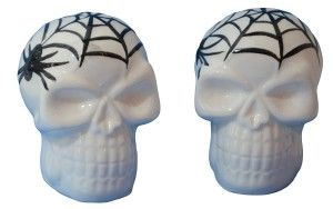 Skull Salt And Pepper Shakers: Spider Web Skulls