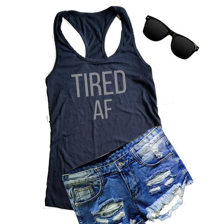 TIRED AF Tank, FUNNY Tank top, Mom Gift, Women's Black Tank top, Workout Tank by BrightShinyDesign on Etsy