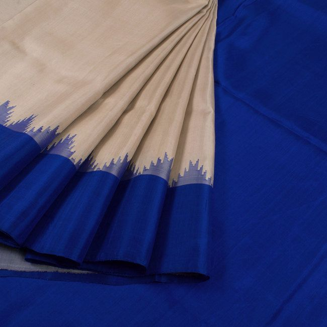Handwoven Beige Gadwal Kuttu Silk Saree With Temple Border 10018442 - AVISHYA.COM