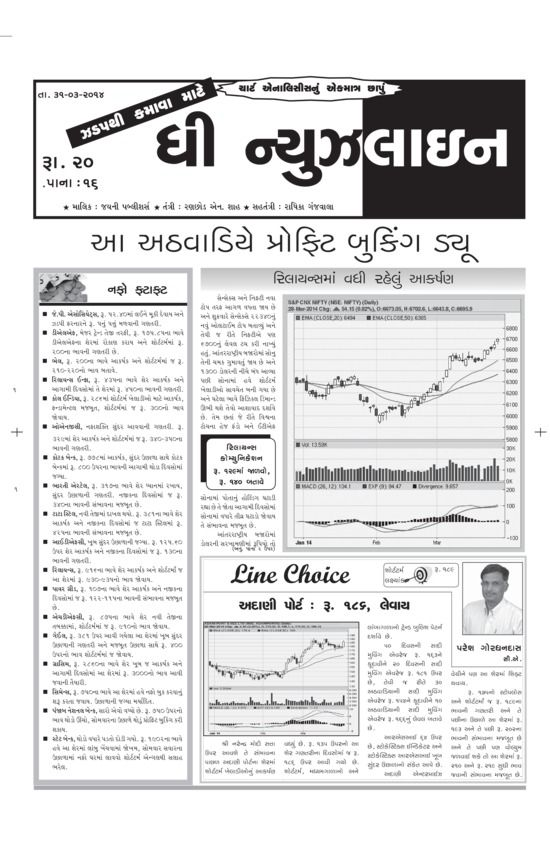 The Newsline - March 31 2014 : The newspaper contains detailed analysis of Hero Moto, Honda Power, Axis Bank, Aegis Logistic , Torrent Power and many other companies