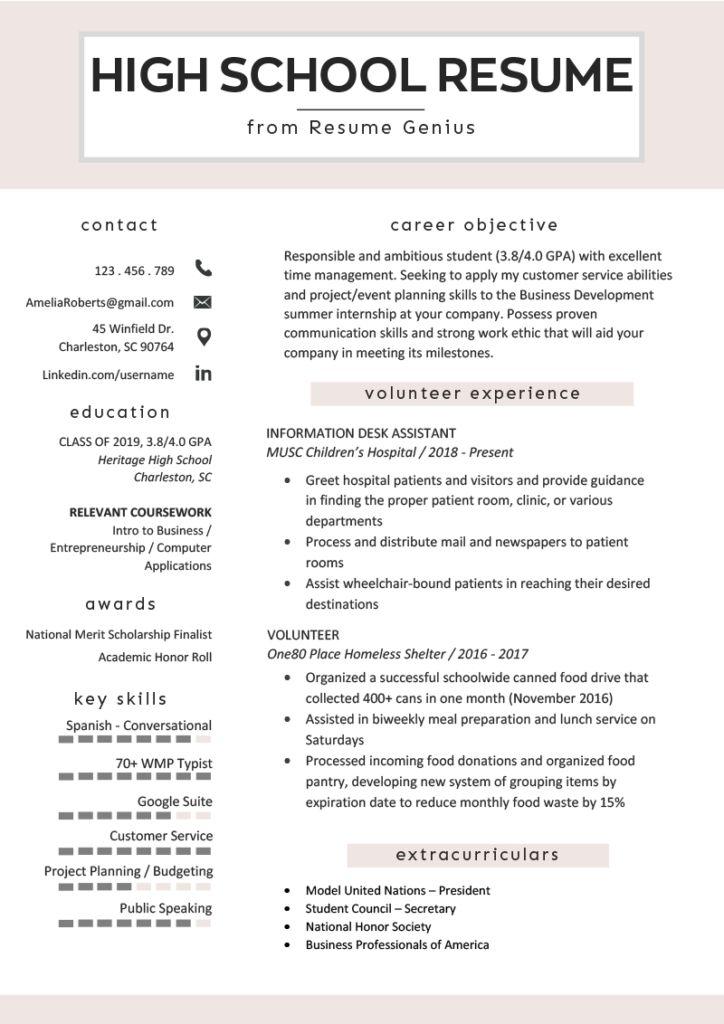 high school resume example template