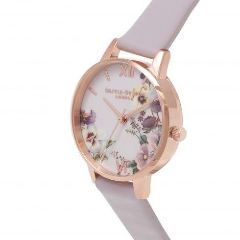 Embroidery Pansy Grey Lilac & Rose Gold - from Olivia Burton UK