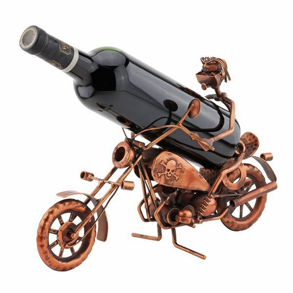 Easy Rider Wine Presenter is made from metal with a lead free nickel plating. A fun way to display wine. Hand crafted This wine bottle holder makes a perfect gift for dad.