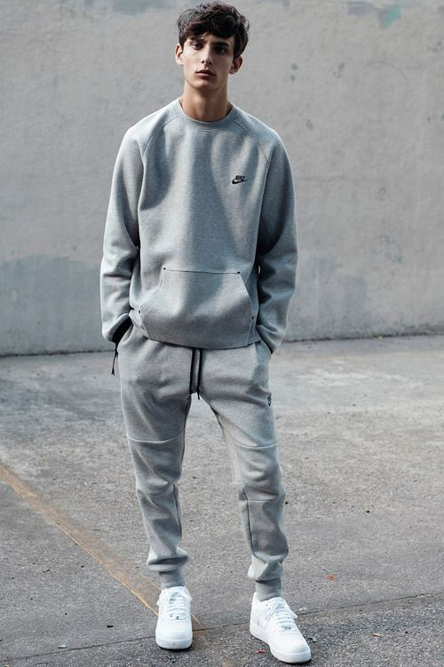White sneakers and all over grey sweatshirt