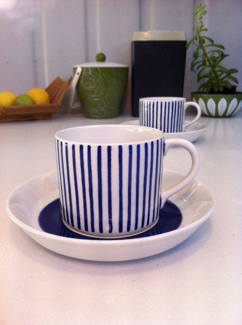 Rörstrand Sweden Kadett blue stripe tea cup/espresso demitasse. From Fibs and Scraps on Etsy.