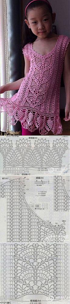 Вязание: ажурное платье для девочки крючком.