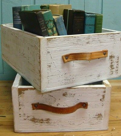 crates with leather straps--love them!