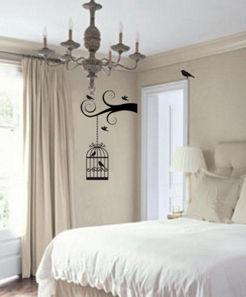 Hanging Birdcage wall decal. Paris Inspired Bedroom in black & white