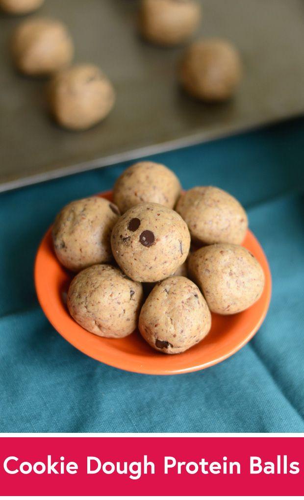 Chocolate Chip Cookie Dough Protein Balls Recipe #vegan #glutenfree