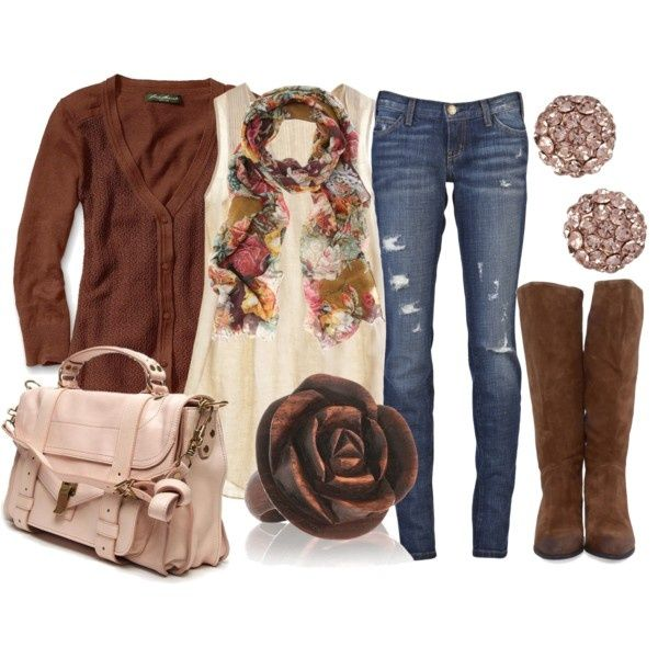 I like the flower ring and scarf. #Fall and #Floral #outfit
