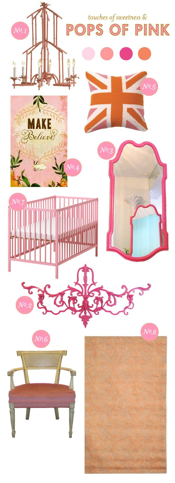 Design boards by Lay Baby Lay, always a delight!: Nurseries Inspiration, Monochromatic Rooms, Pink And Orange Nurseries, Girls Bedrooms, Baby Ideas, Baby Rooms, Laying Baby Laying, Girls Nurseries, Baby Nurseries