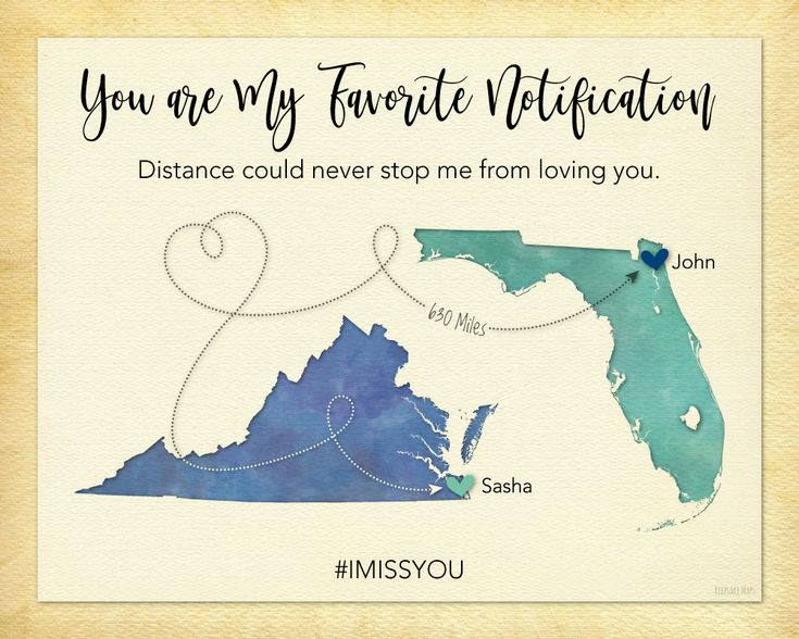 Gift for Girlfriend, Long Distance Relationship Gift for Girlfriend, You are My Favorite Notification Gift Print, Birthday Gift Idea for Girlfriend, Personalized Long Distance Gift Print by KeepsakeMaps on Etsy