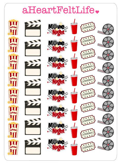 Movie Night Stickers for your Planner, scrapbook, calendar, etc. by aHeartFeltLife on Etsy https://www.etsy.com/listing/240515453/movie-night-stickers-for-your-planner
