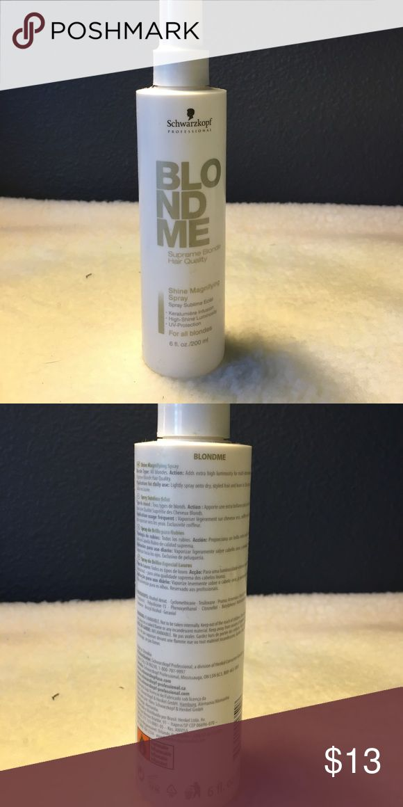 Schwarzkopf blond me shine magnifying spray Used twice. Incredible smoothing and shine. Salon line by schwarzopf. Make offer free gift with purchase bundle and save schwarzkopf Makeup