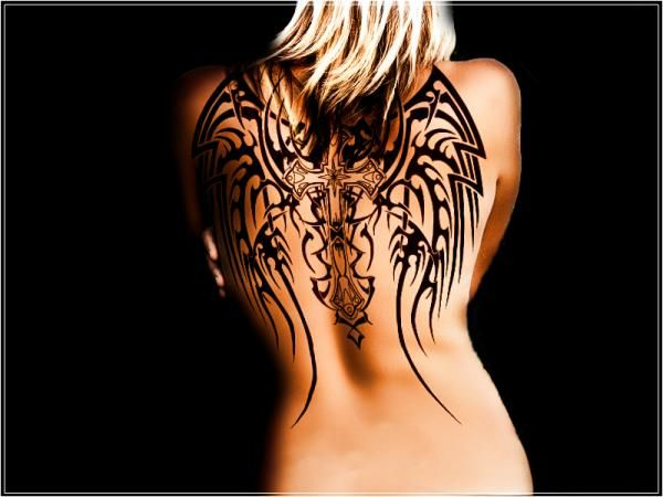 Angel cross wings tattoo - 60 Holy Angel Tattoo Designs  <3 <3