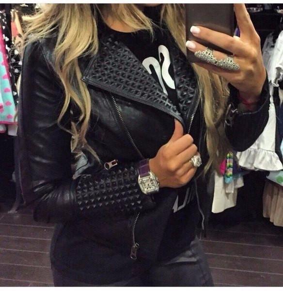 Trendy Black Rivet Stylish Motorcycle Jacket